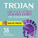 Trojan Ultra Thin Condoms For Ultra Sensitivity, 36 Count, 1...