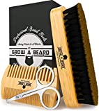Beard Brush & Beard Comb Set w/ Beard Scissors Grooming Kit,...